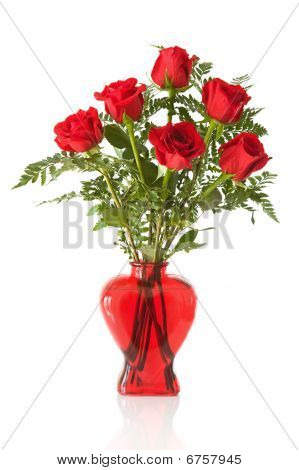 red heart vase arrangement with 6 red roses