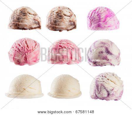 Studio shot of isolated ice cream scoops on white background
