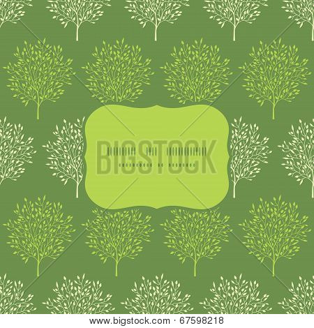 Green trees stripes seamless frame pattern background