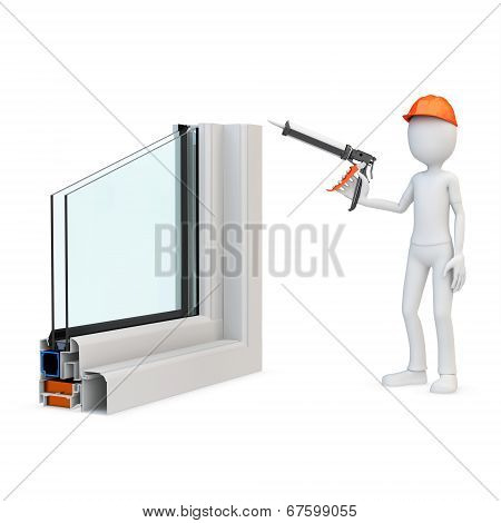 3D Man Construction Worker With A Caulking Gun And Window Profile