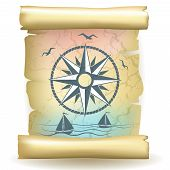 Ancient scroll with vintage compass design and boats poster