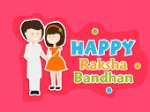 Beautiful greeting card design with cute little girl tying rakhi on her brother hand on pink background for the festival of Raksha Bandhan celebrations.  poster