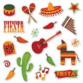 collection of mexican stickers isolated on white poster