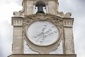 sundial on the clock tower of the Cathedral Basilica of St. Agatha in Gallipoli (Le) poster