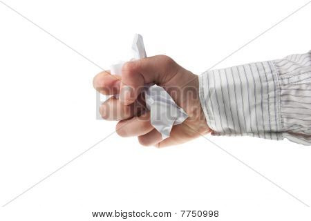 Hand In Business Crumpling A Piece Of Paper