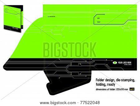 Folder (map) Design, Die Stamping, Folding, Ready