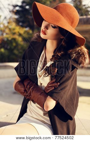 fashion outdoor photo of beautiful ladylike woman with dark hair wearing elegant coat with furfelt hat and leather gloves poster