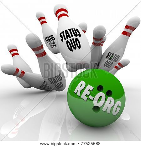 Re-Org word on a green bowling ball striking pins marked Status Quo to illustrate shaking up an organization and changing roles for employees or workers poster