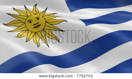 Uruguay Flag In The Wind