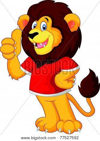 Vector Cute cartoon lion giving thumb up