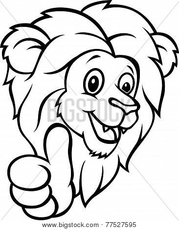 Vector Funny cartoon lion giving thumb up