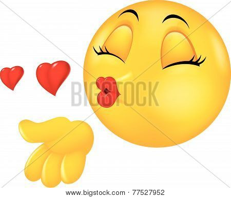 Cartoon smiley emoticon making air kiss