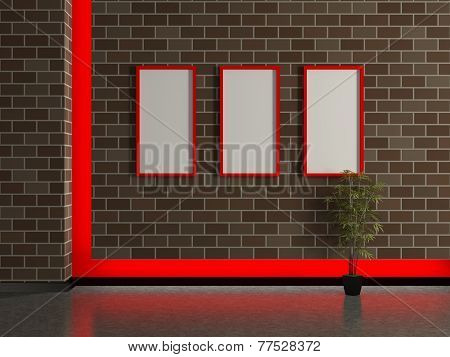 Modern House Interior, Brick Wall With Frame