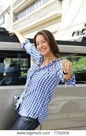 Rich Woman Showing Keys Of Her New Bulletproof Car