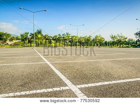 Vacant Parking Lot ,parking Lane Outdoor In Public Park poster