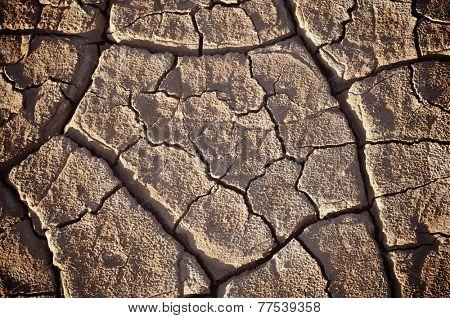 Cracks in mud, Belchite, Aragon, Spain. poster