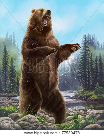 Aggressive Bear. Raster illustration