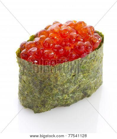Sushi Gunkan With Red Caviar. Tobico. Tobiko. Isolated On White Background.