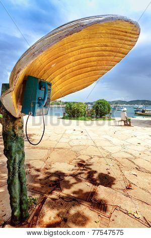 Phonebooth With A Shell-shaped Cover In Buzios, Brazil