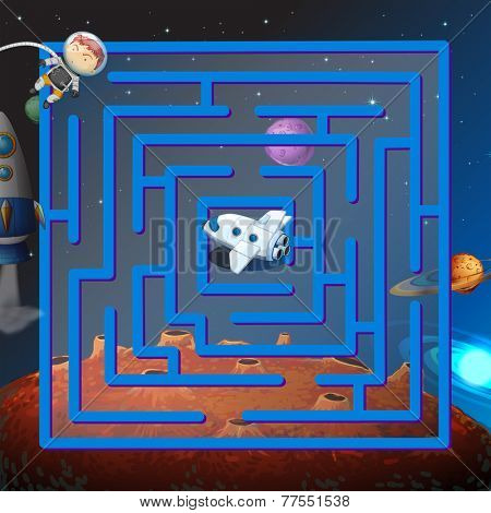 A maze game in the outerspace with an astronaut and a plane