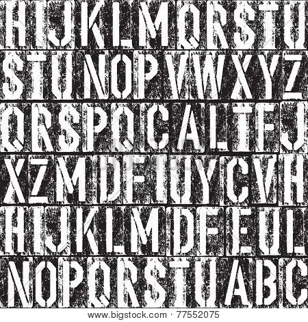 Letterpress seamless background. Black and white version. Raster version