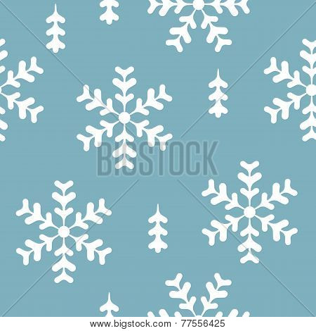 vector seamless pattern winter, christmas, white and blue