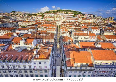 Lisbon, Portugal city skyline over Santa Justa Rua.