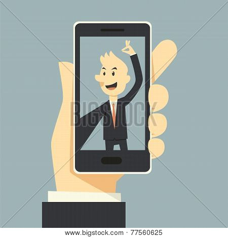 Businessman Taking Selfie Photo