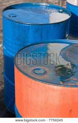 Blue And Orange Oil Barrels