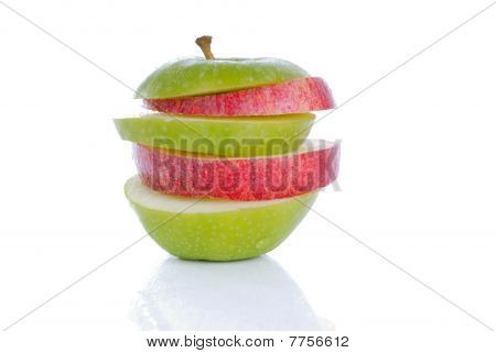 Stack of red and green apples