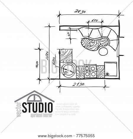 Interior Drawing Kithen Plan
