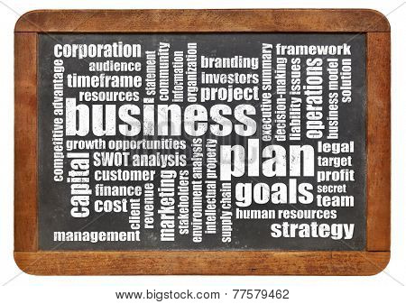 business plan word cloud on a vintage slate blackboard isolated on white
