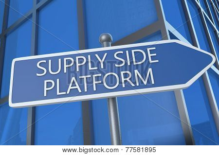 Supply Side Platform - illustration with street sign in front of office building. poster