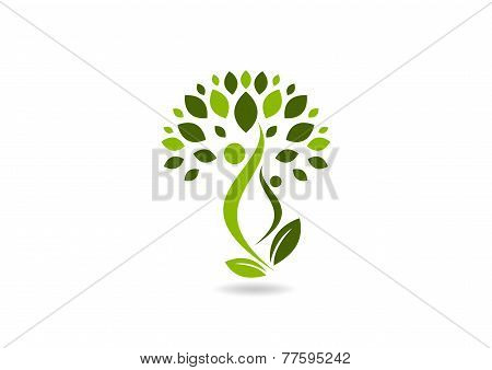 green health body logo, wellness plant human symbol icon