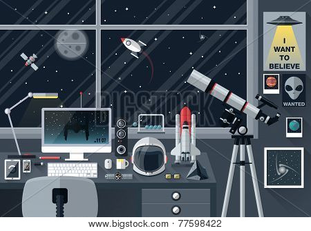 Space Lover Flat Design Illustration