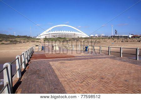 View Of Moses Mabhida Stadium From Pier On Durban Beach