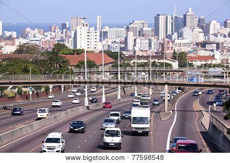 Western Freeway Leading Into Durban City Centre At Tollgate Bridge