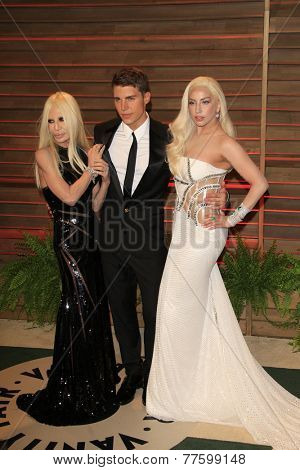 LOS ANGELES - MAR 2:  Donatella Versace, Nolan Gerard Funk, Lady Gaga at the 2014 Vanity Fair Oscar Party at the Sunset Boulevard on March 2, 2014 in West Hollywood, CA