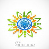 Beautiful rangoli design made by national tricolor with Ashoka Wheel for Indian Republic Day celebration on white background. poster