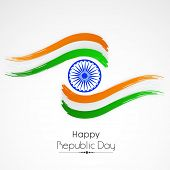 Indian Republic Day celebration with Ashoka Wheel and national tricolor paint stroke on white background. poster