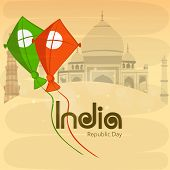 National tricolor kites for Indian Republic Day celebration on famous historical monuments background. poster