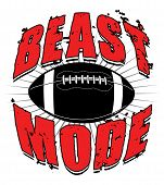 Illustration of a football design which includes a football and the words Beast Mode. poster