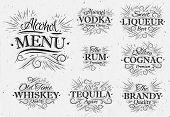 Set alcohol menu beverages lettering names in retro style vodka, liqueur, rum, cognac, brandy, tequila, whiskey in vintage style poster