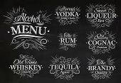 Set alcohol menu beverages lettering names in retro style vodka, liqueur, rum, cognac, brandy, tequila, whiskey stylized drawing with chalk on the blackboard poster