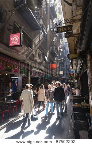 People visiting the bars in a laneway
