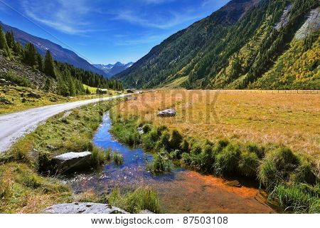 Hillsides picturesque alpine valley covered with thick coniferous forest. Quick stream of clear water flowing in the middle of the canyon