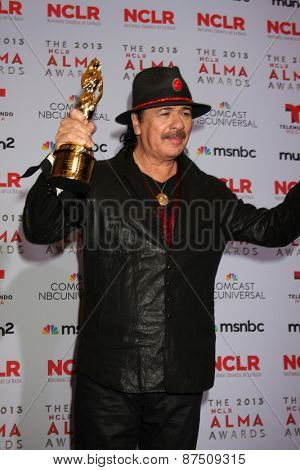 LOS ANGELES - SEP 27:  Carlos Santana at the 2013 ALMA Awards - Press Room at Pasadena Civic Auditorium on September 27, 2013 in Pasadena, CA