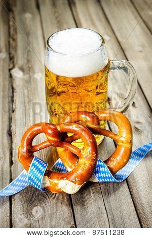 Bavarian Beer and Pretzels with ribbon, Oktoberfest