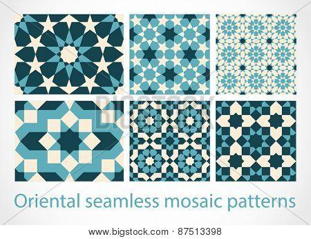 Oriental seamless mosaic patterns