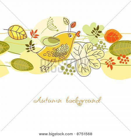 birdy and autumn leaves